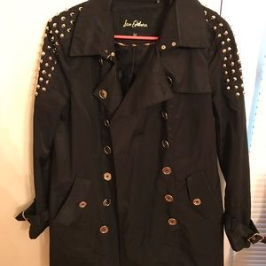 San EDELMAN BLACK TRENCH COAT STUDDED COAT SIZE M